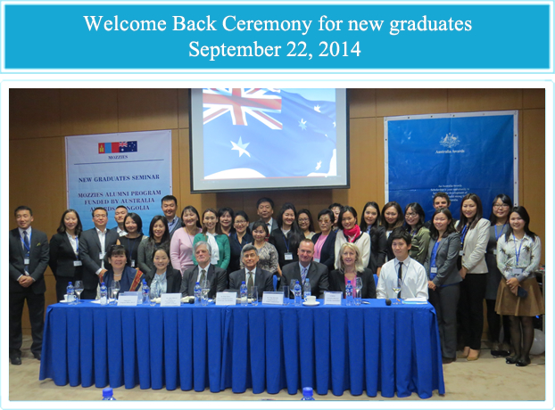Attendees participating in the Welcome-back ceremony for awardees, who completed their Masters Studies in Australia in June/July 2014, 22 September 2014