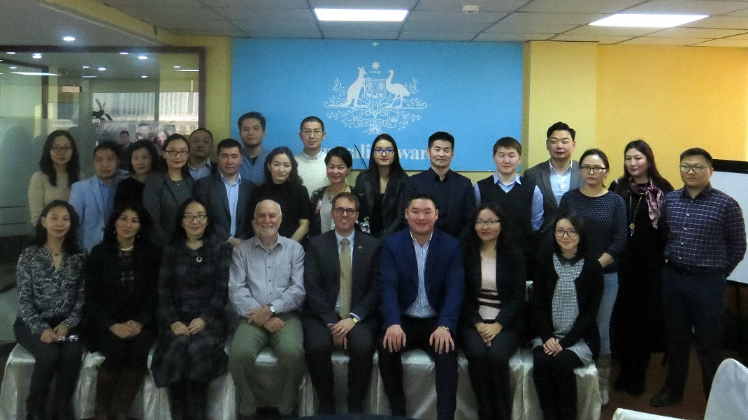 15 awardees and their families attended the Australia Awards Mongolia Pre-departure briefing November 2017.
