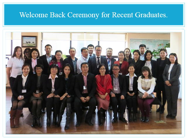Attendees of a ceremony on October 15, 2013 to welcome graduates who completed Masters Degree courses at Australian Universities in June-July 2013.