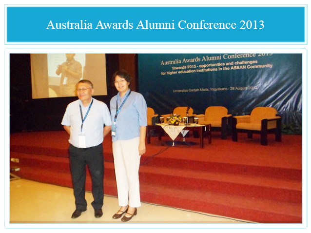 Ms Suvdmaa Tuul and Mr Munkhsuren Byamba attending an Australia Awards Alumni Conference in Yogykarta, Indonesia in August 2013.
