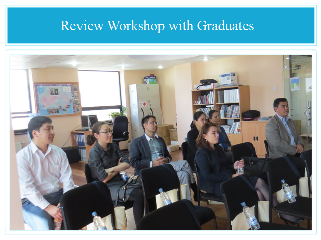 Attendees of a Review Workshop with Graduates who have been working in public and private organisations for two years after completing their Master's studies in Australia.